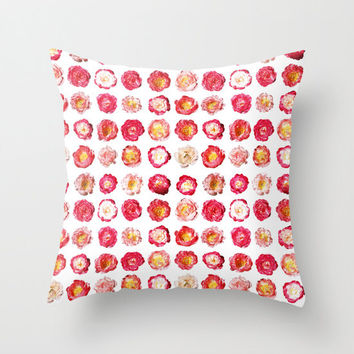 """Pink Peony Throw Pillow Cover - choice of size 16"""", 18"""" or 20"""" square cushion cover with hidden zipper"""