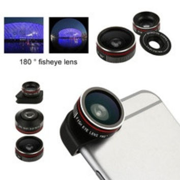 3 in 1 Fish Eye + Wide Angle Macro Lens Phone Camera Kit for iPhone 6/ iPhone 6 Plus Black Color (Color: Black) [7939823879]