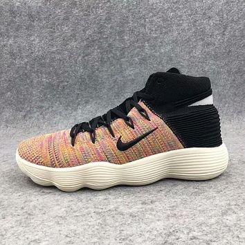 NIKE HYPERDUNK FLYKNIT Popular Men Personality Rainbow Black Color Shock Absorption Basketball Training Sports Running Shoes Sneakers I-AHXF