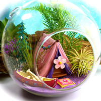 "Camping Terrarium Kit ~ 7"" Air Plant Terrarium ~ Girly Camping Tent + Canoe ~ 2 live Air Plants ~ Pillow Color Choice ~ Gift for Her"