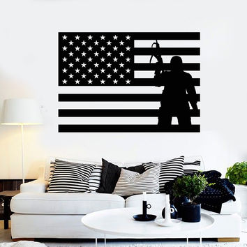Vinyl Wall Decal USA Flag Soldier Patriotic Military Art Stickers (ig4093)