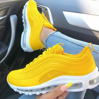 NIKE AIR MAX 97 Fashionable Women Casual Running Sport Shoes Sneakers Yellow I/A