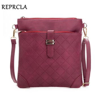 REPRCLA Brand Double Zipper Women Messenger Bags Plaid PU Leather Shoulder Bag Small Flap Simple Crossbody Bags Handbag Purse