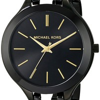 Michael Kors Women's Midnight Safari Slim Runway Twist Watch, Black, One Size