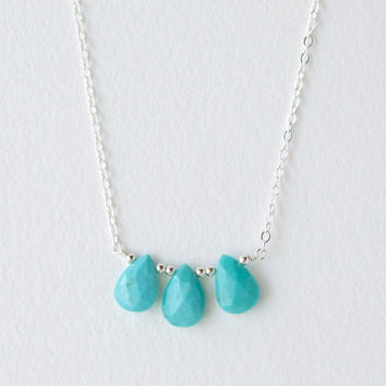 Push Present Triplets, December Birthstone Turquoise Necklace in Sterling Silver