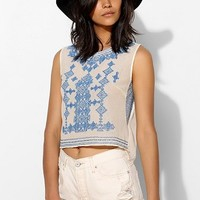 Chelsea Flower Cross-Stich Cropped Top - Urban Outfitters
