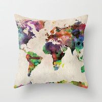 World Map Urban Watercolor Throw Pillow by ArtPause