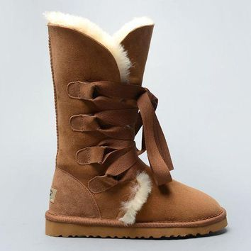 ESBON UGG 1005818 Tall Lace-Up Women Fashion Casual Wool Winter Snow Boots Chestnut