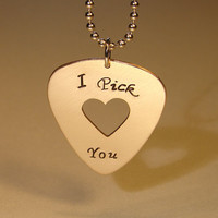 Bronze guitar pick pendant I pick you with heart cut