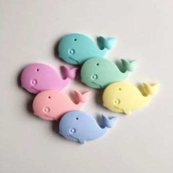 Chenkai 5PCS BPA Free Silicone Whale Pendant Teether Baby Shower Pacifier Dummy Teething Chewable Pendant Nursing Jewelry Toy