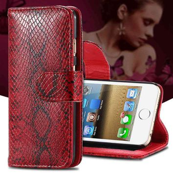 Luxury Snake Skin Leather Phone Case for iPhone 5 5s SE/6 6s/Plus Samsung Phones