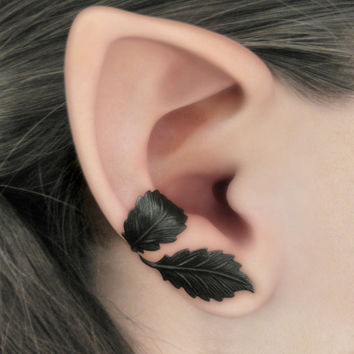 Dark Forest Right Ear Cuff  Black Leaves Filigree by RavynEdge