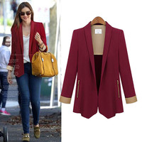 Block Long-Sleeve Zip Pocket Blazer