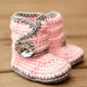 Crochet Baby Booties - Bling Baby Boots - Pink and Grey Baby Shoes - Gray and Pink Ba