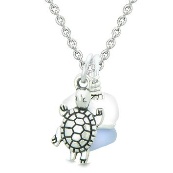 Sea Glass Icy Frosted Waves Lucky Turtle Purple White Positive Energy Amulet 18 Inch Necklace