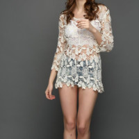 New summer sexy Women solid color crochet O Neck Beach blouse-0531