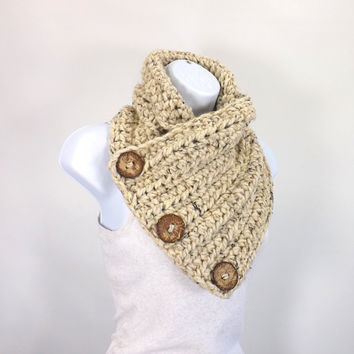 Crochet Chunky Neck Warmer with Three Natural Coconut Shell Buttons /OATMEAL/, Unisex Buttoned Scarf Neck Warmer, Gift Idea