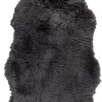 Sheepskin Shag Area Rug Black
