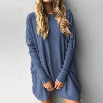 Naiveroo Oversize Batwing T-Shirts Casual Long Sleeve Loose Round Neck Tops Casual Soft Slim Solid Color
