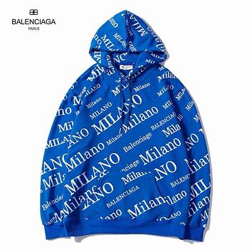BALENCIAGA Hooded Fashion Long Sleeve Top Sweater Hoodie Sweatshirt More Print Blue
