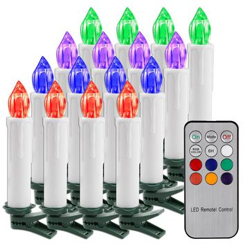 10x Remote Control Flickering Flameless RGB LED Light Candle