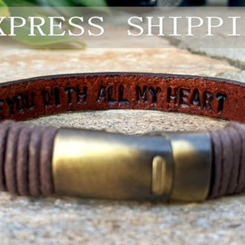 Personalized Hidden Message Bracelet, Engraved Mens Womens Custom Secret Message Inside Genuine Brown Leather Man Boyfriend Husband Son Gift