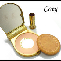 1960s Coty Gold Compact & Lipstick Combination, Mirrored Compact with Original Lipstick and Powder Puff, Gift for Collector