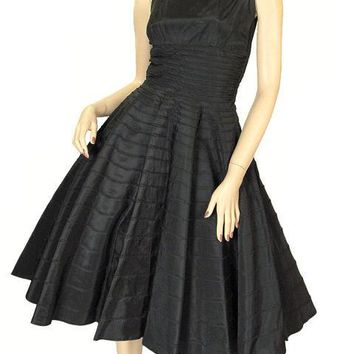Vintage Black Taffeta Concentric Circle Skirt Dress W/Bolero 1950s 34-28-Free