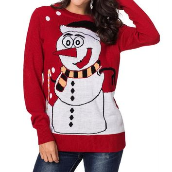 Adisputent Ugly Christmas Cute Snowman Print Sweater O-neck Long Sleeve Slim Knitted Pullovers Autumn Winter Sweater Jumpers
