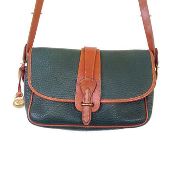 Vintage Dooney & Bourke All Weather LEather Purse Crossbody Bag Handbag Green British Tan