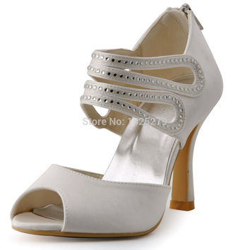 HP1420 Ivory White Women Bridal Peep Toe Prom Cut-outs Party San d9e1ddbdf4ab