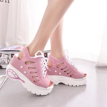 10cm Heel hight 2016 Mesh Breath Sandals Women Casual Shoes Woman Platform Wedges Loaf
