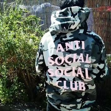 """Anti Social Social Club"" Fashionable Women Men Casual Hip Hop Grey Camouflage Hooded Sweater Top Sweatshirt"