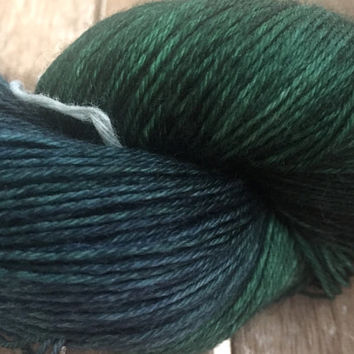 Hand Dyed Yarn - Emerald and Spruce - Variations of Greens and Blues - Baby Alpaca - 4 ply DK Weight Yarn 100gr
