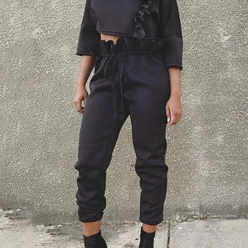New Black Ruffle Drawstring Two Piece Long Sleeve Casual Jumpsuit