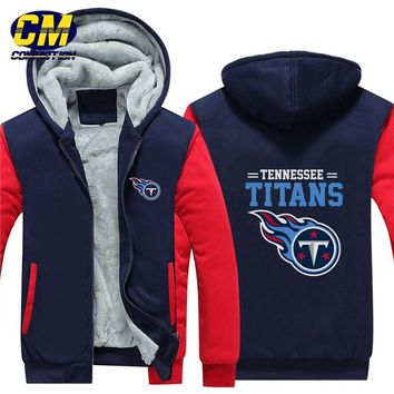 NFL American football winter thicken plus velvet zipper coat hooded sweatshirt casual jacket Tennessee Titans