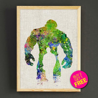 Avengers Hulk Watercolor Art Print Marvel Superhero Poster House Wear Wall Decor Gift Linen Print - Buy 2 Get 1 FREE- 393s2g