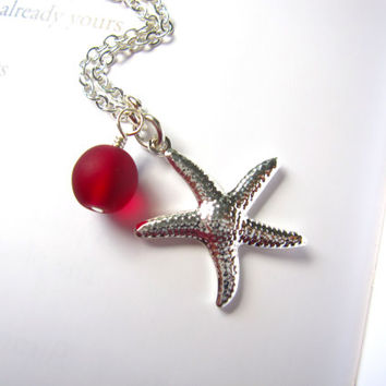 Red Sea Glass starfish necklace - Bridesmaids jewelry for beach wedding - Perfect gift for Holidays - FREE SHIPPING