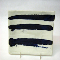 pottery plate serving plate ceramic modern minimalist blue stripe on white background