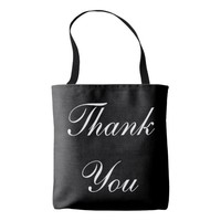 Customizable Black and White Thank You Wedding Bag