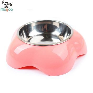 1PC Flower Design Pet Dog Bowl Stainless Steel+Plastic Puppy Dog Feeding Dish Bowl