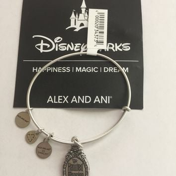 Disney Parks Haunted Mansion Logo Bangle by Alex and Ani Silver Finish New Tags