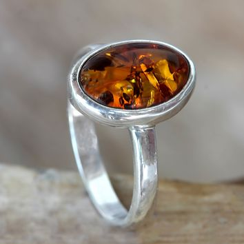 Amber single stone ring, 'Harmony Sunset'