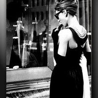 AUDREY HEPBURN BACK TIFFANYS BREAKFAST POSTER CANVAS