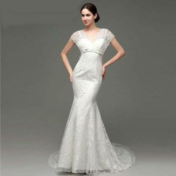 Short Sleeves V-neck Lace Wedding Dresses Lace-up Back with Big Bow Knot Court Train Mermaid Wedding Gowns