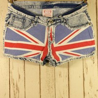 $44.90 Great Britain Flag Washed Denim Shorts - Chic Wish