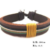 fashion Adjustable leather and  Rope Bracelet Woven Bracelet cuff bracelet  B53