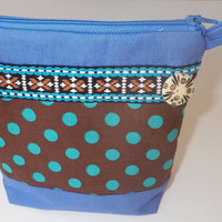 Polka Dot Zipper Pouch and Cosmetic Bag or Organizer Purse