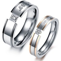 """MagicPieces Fashion Jewelry """" My Love """" AAA High Quality CZ Titanium Stainless Steel Couple Ring DP 0613"""