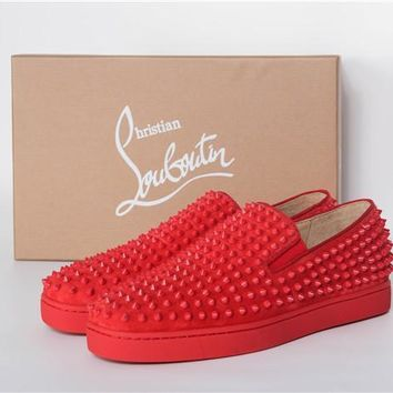 SPBEST Christian Louboutin All Red suede skin with gold studs